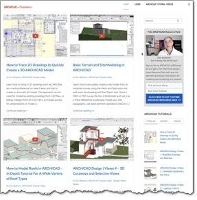 New ARCHICAD Tutorials Website (screenshot).