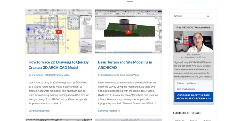 New ARCHICAD Tutorials website screenshot.